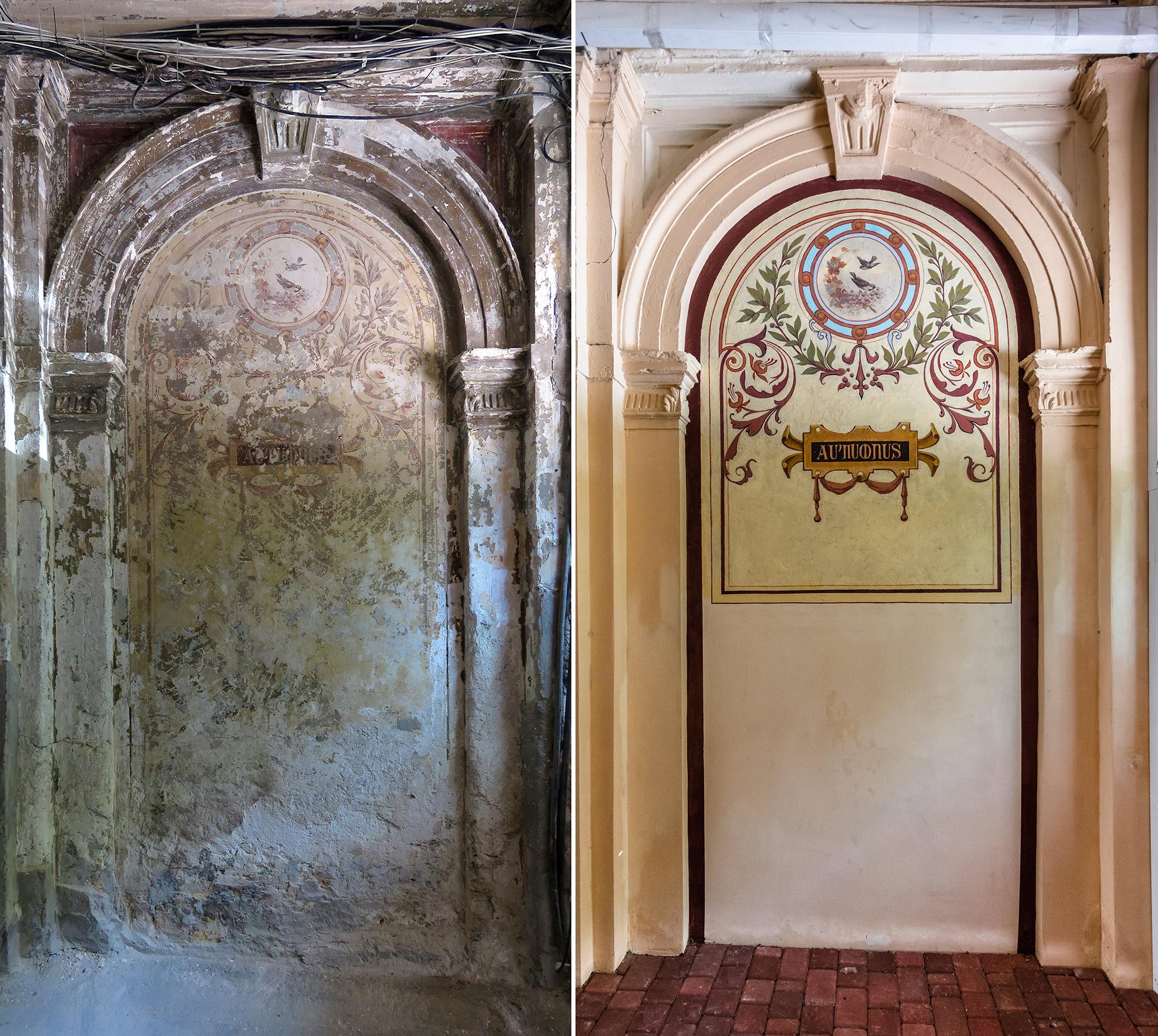 Константин отреставрировал фрески в арке проезда дома Гершенкопа на Греческой, 36